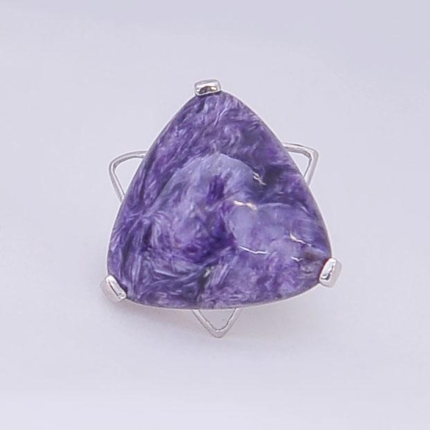 Кольцо из чароита треугольной формы, серебро, авторская работа