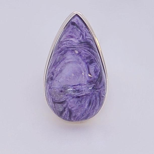 Кольцо из чароита крупная капля, серебро, авторская работа