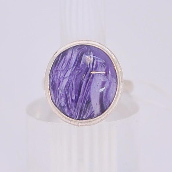Кольцо из чароита круглой формы, серебро, авторская работа