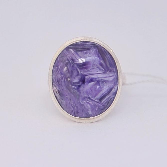 Кольцо из чароита овальной формы, серебро