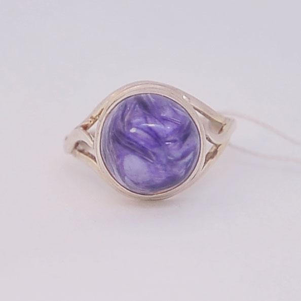 Кольцо из чароита круглой формы, серебро