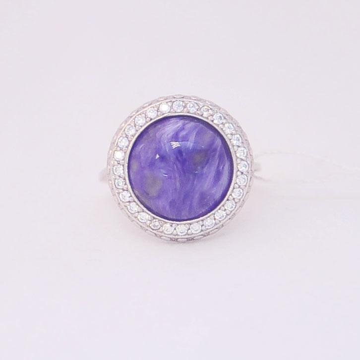 Кольцо из чароита с фианитами круглой формы, серебро