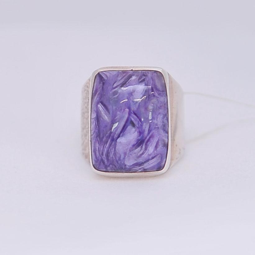 Кольцо из чароита прямоугольной формы, серебро