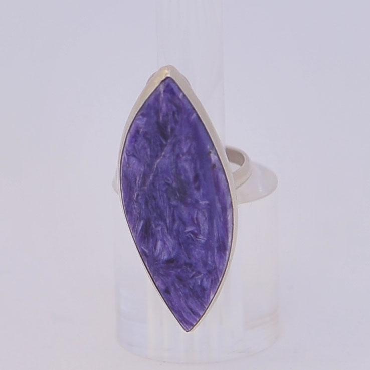 Кольцо из экстра чароита. Лист, серебрение, размер 17-19