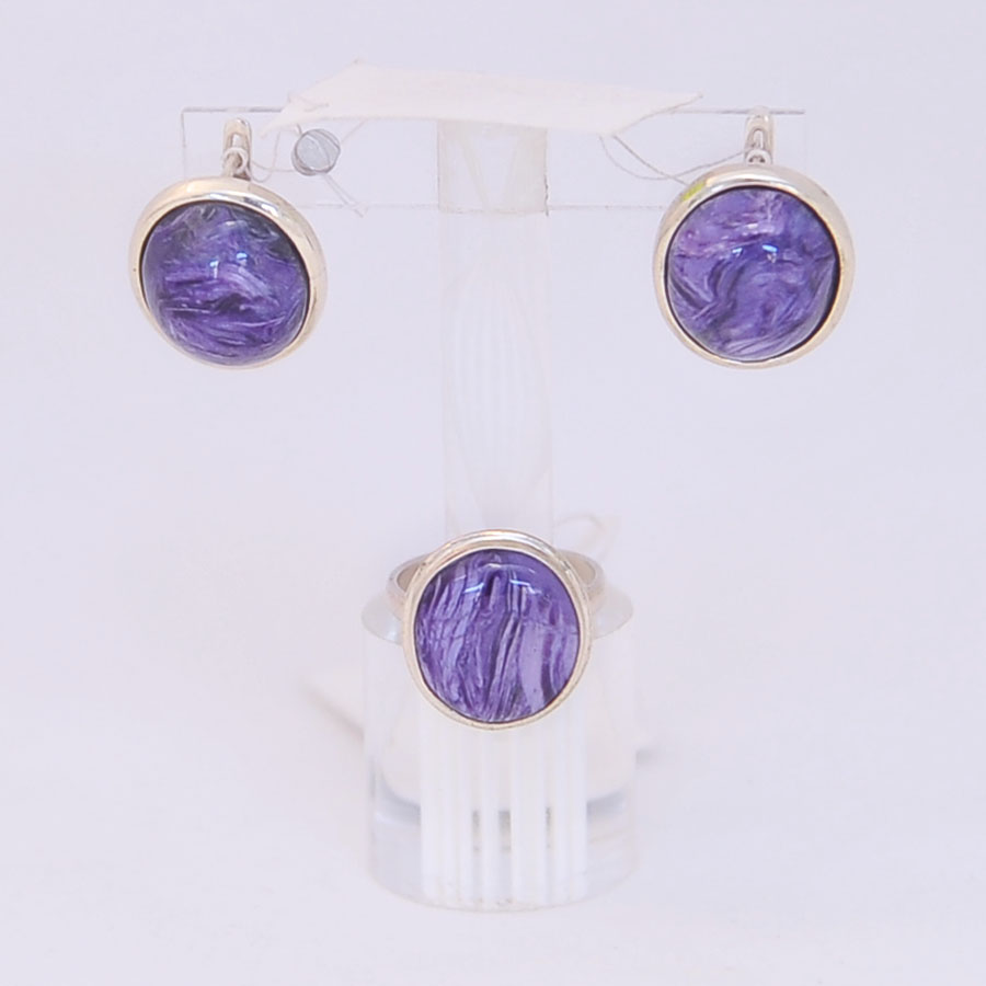 Комплект серьги + кольцо из чароита, круг. Серебро, авторская работа