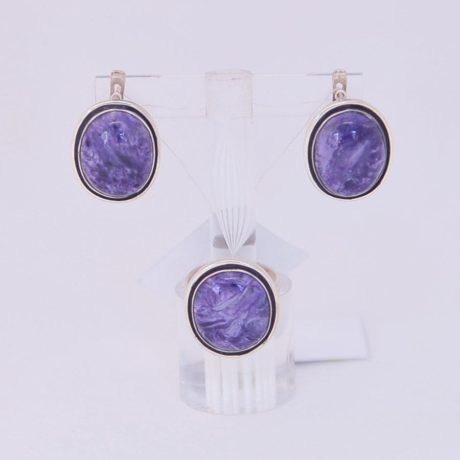 Комплект серьги + кольцо из чароита, овал с черной окантовкой, серебро, авторская работа