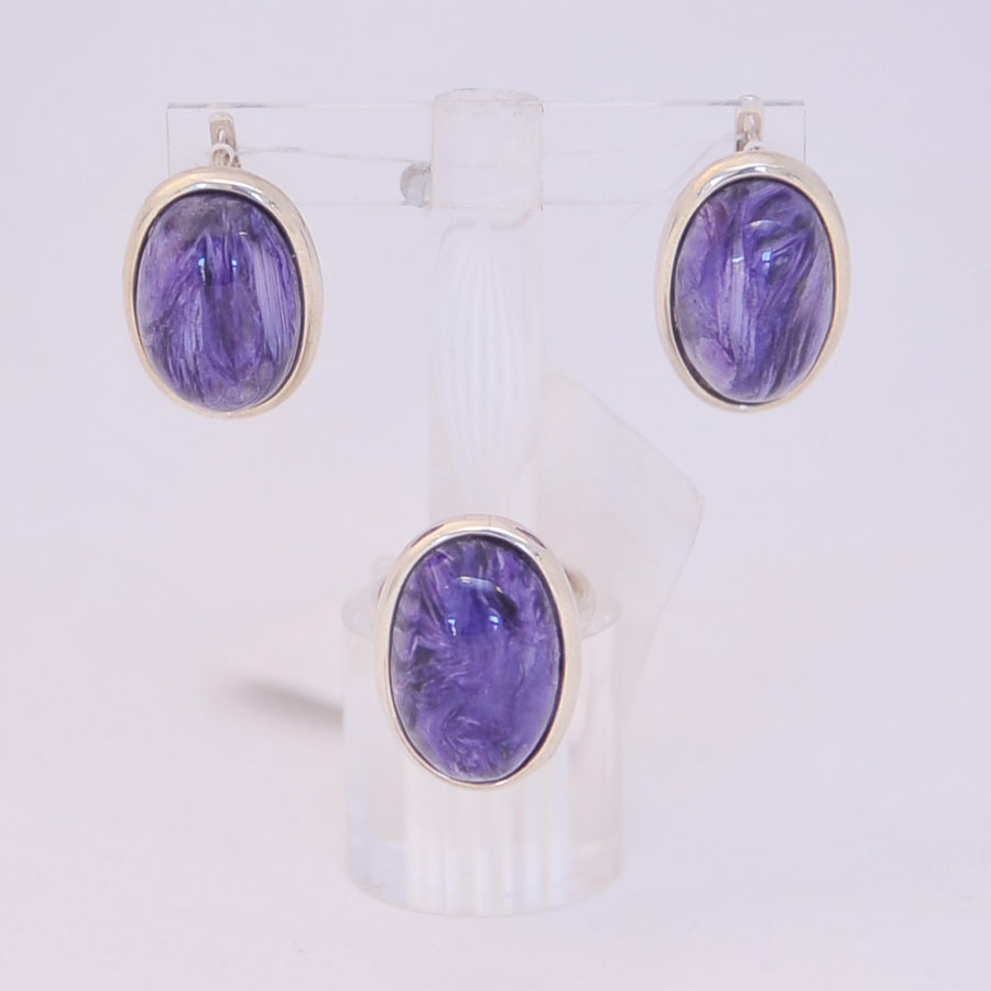 Комплект серьги + кольцо из чароита, выпуклый овал, серебро