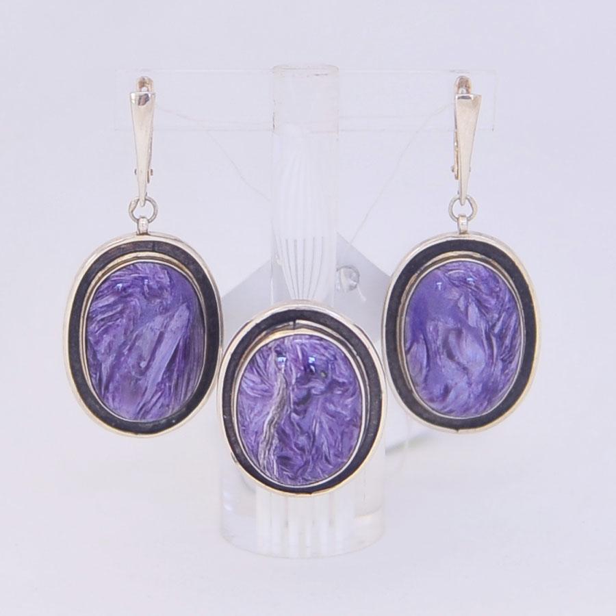 Комплект серьги + кольцо из чароита, овал с широким черным ободком, серебро