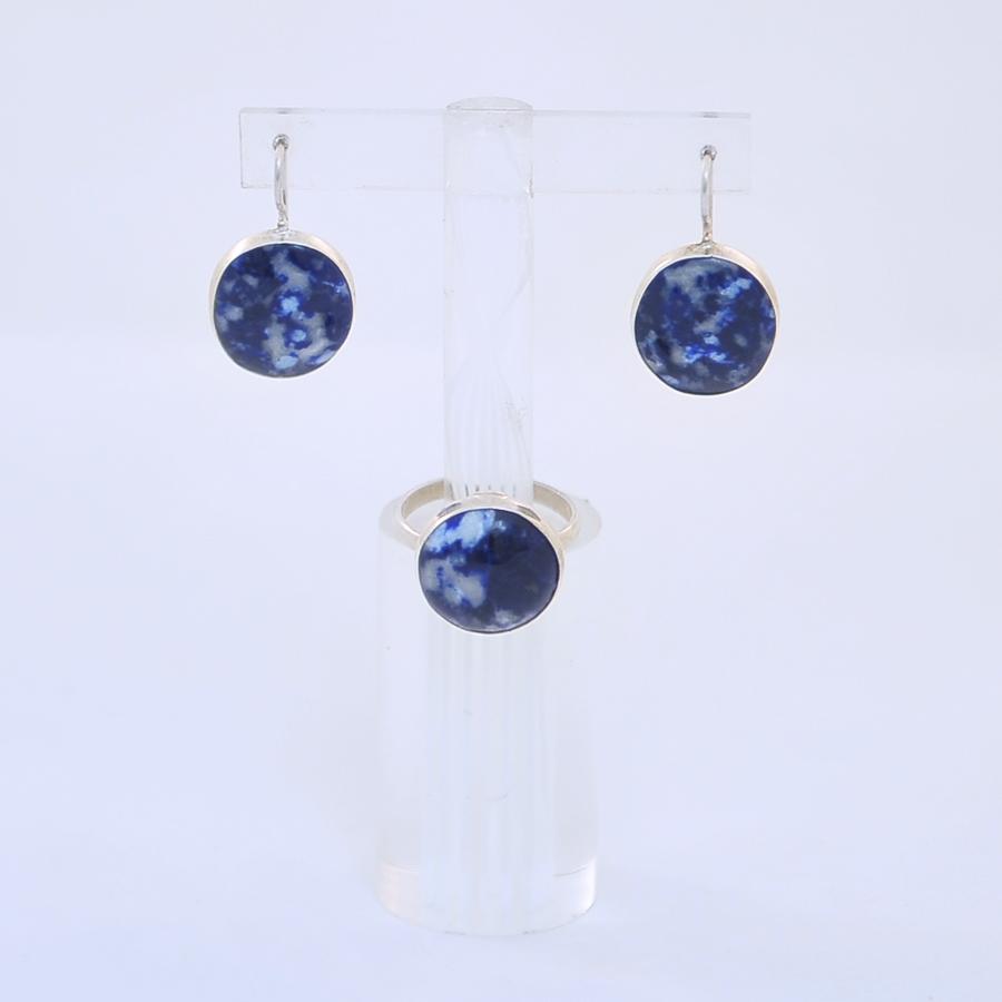 Комплект кольцо + серьги из лазурита круглой формы