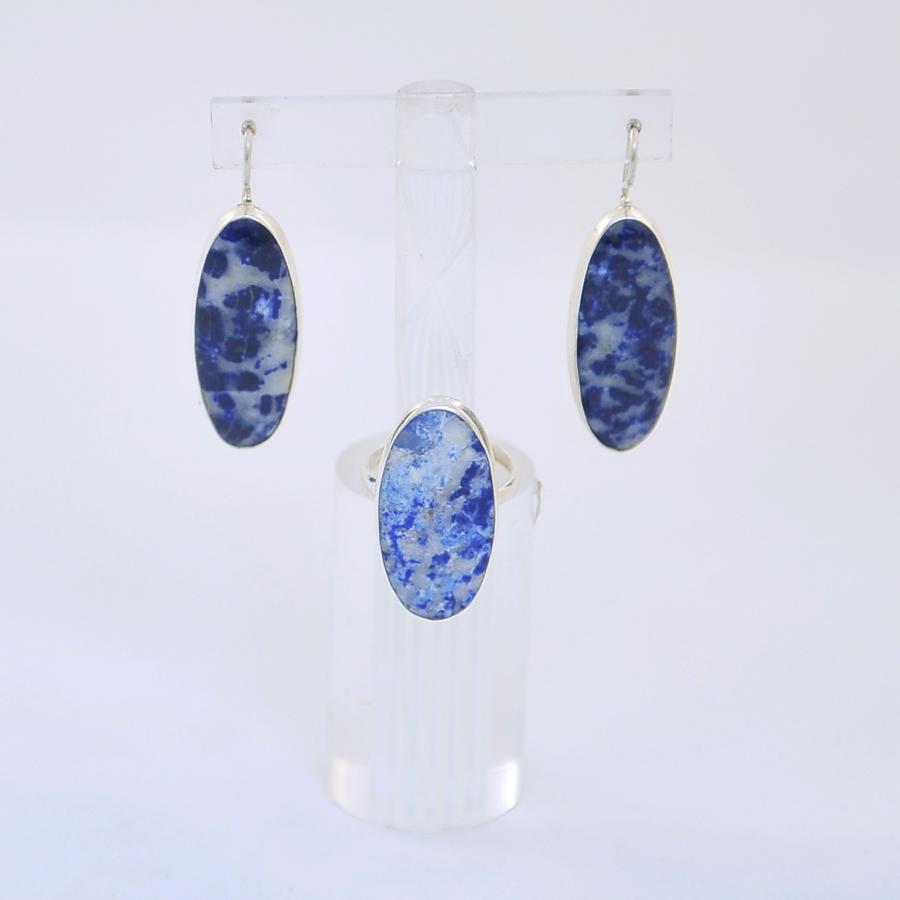 Комплект кольцо + серьги из лазурита овальной формы