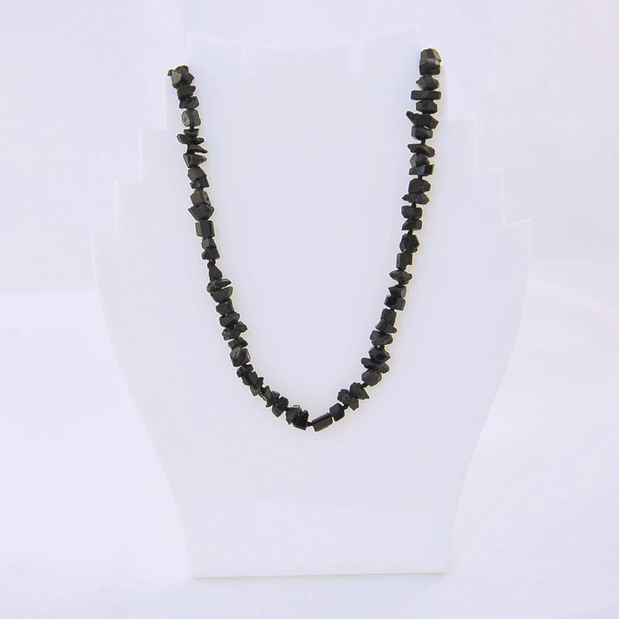 Бусы из черного турмалина (шерл), мелкая галтовка