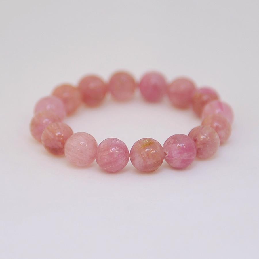 Браслет из розового прозрачного турмалина, шар