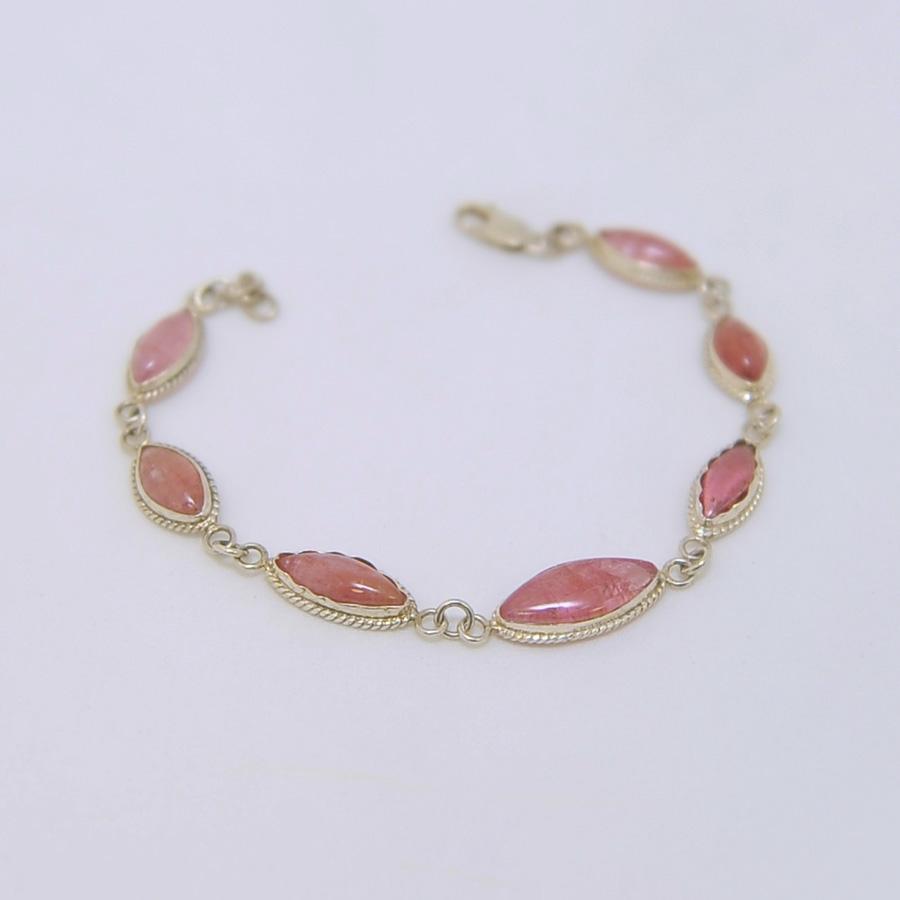 Браслет из розового прозрачного турмалина овальной формы, серебро, авторская работа