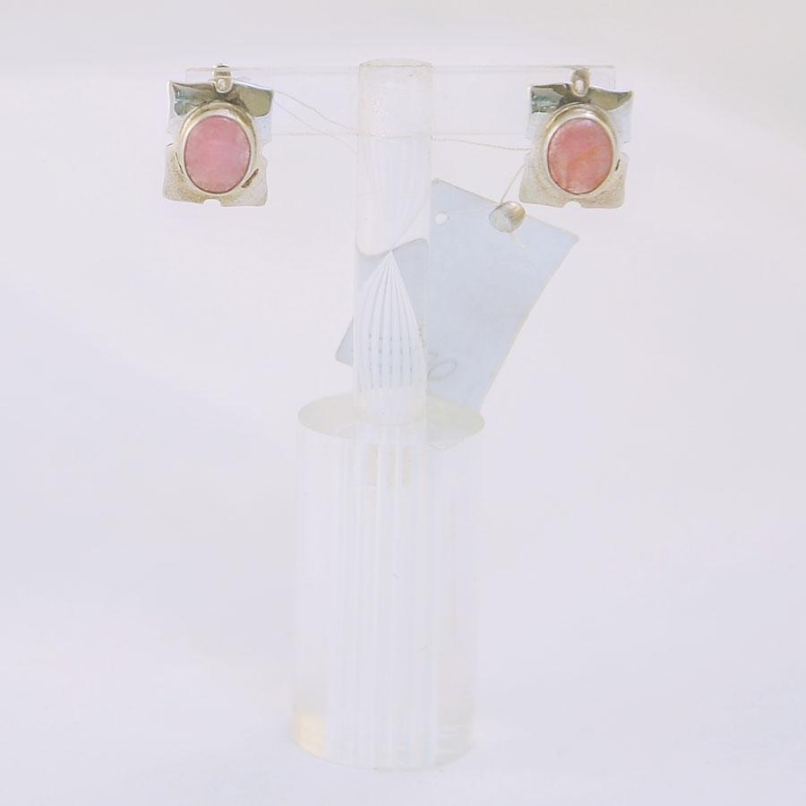 Серьги из розового турмалина овальной формы, обрамление прямоугольником из серебра