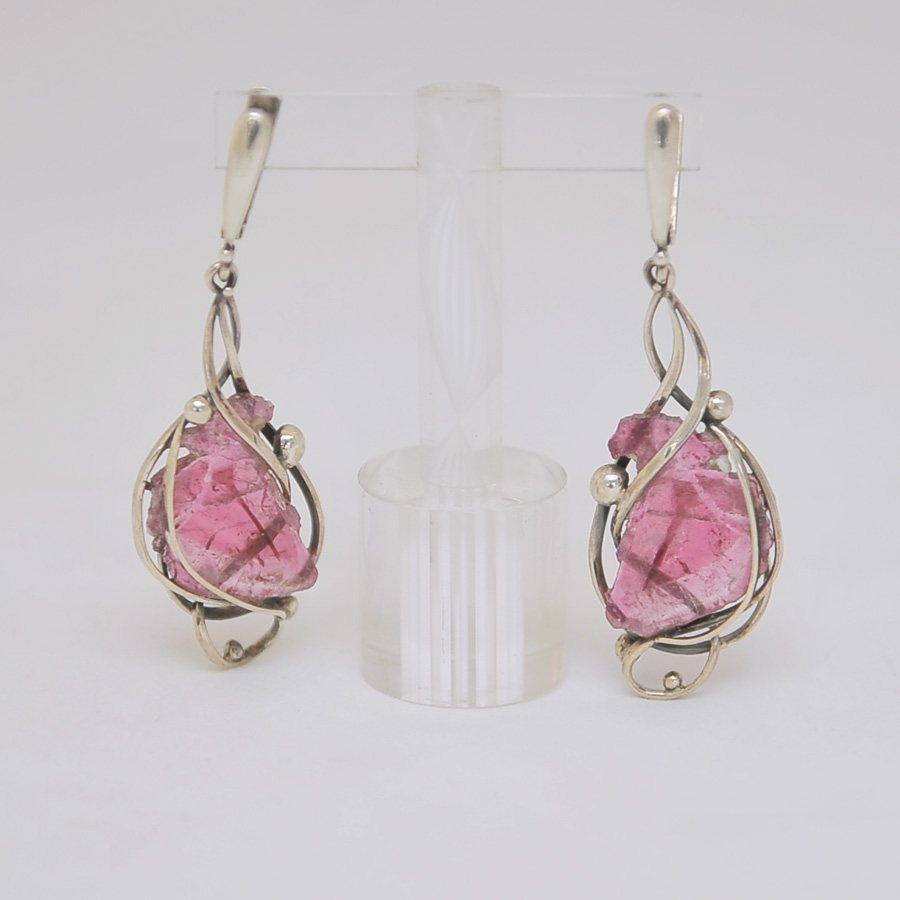 Серьги из среза розового турмалина, серебро
