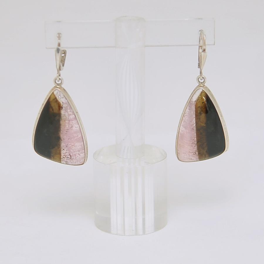 Серьги из розово-черного турмалина треугольной формы, серебро
