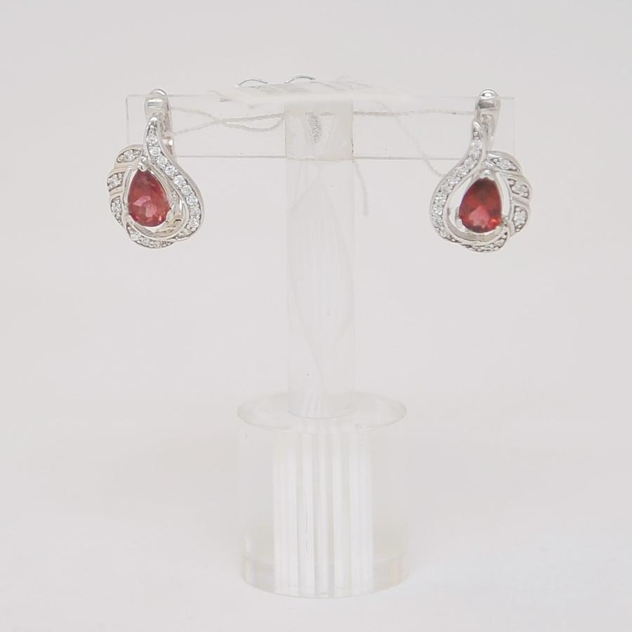 Серьги из малинового турмалина овальной формы, огранка в серебре