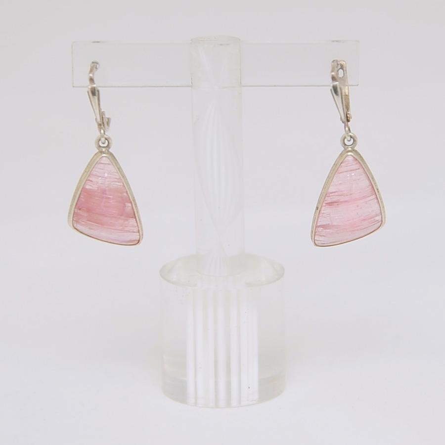 Серьги из розового турмалина треугольной формы, серебро