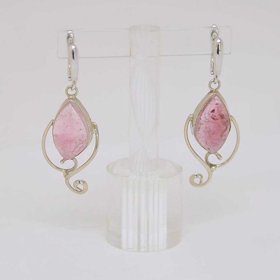 Серьги из розового турмалина в ажуре, серебро