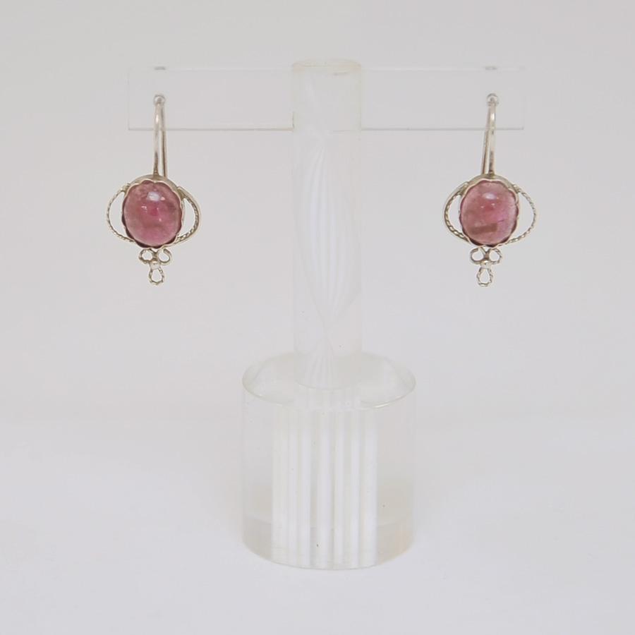 Серьги из розового турмалина в ажуре, овальной формы, серебро