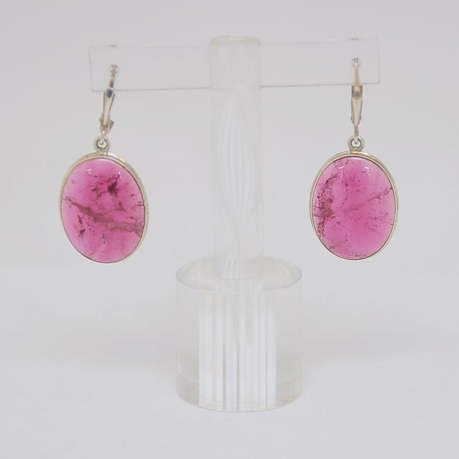 Серьги из ярко-розового турмалина овальной формы, серебро