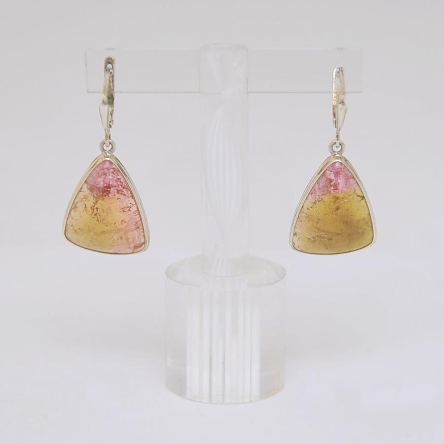Серьги из розово-желтого турмалина треугольной формы, серебро