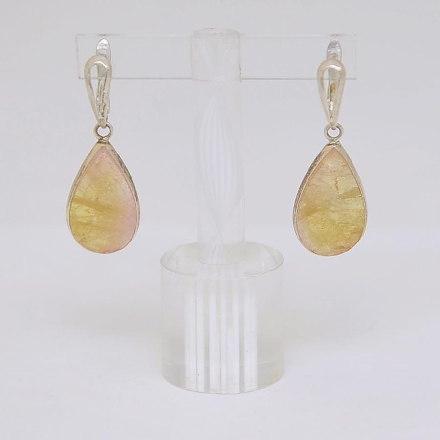 Серьги из желто-розового турмалина в форме капли, серебрение