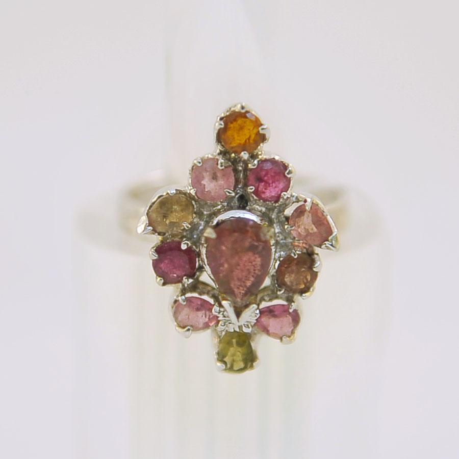 Кольцо из цветного турмалина, огранка, серебро