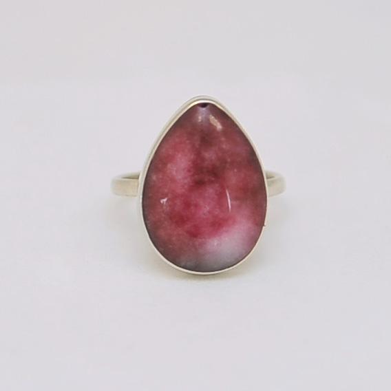 Кольцо из розового турмалина в форме капли, серебрение