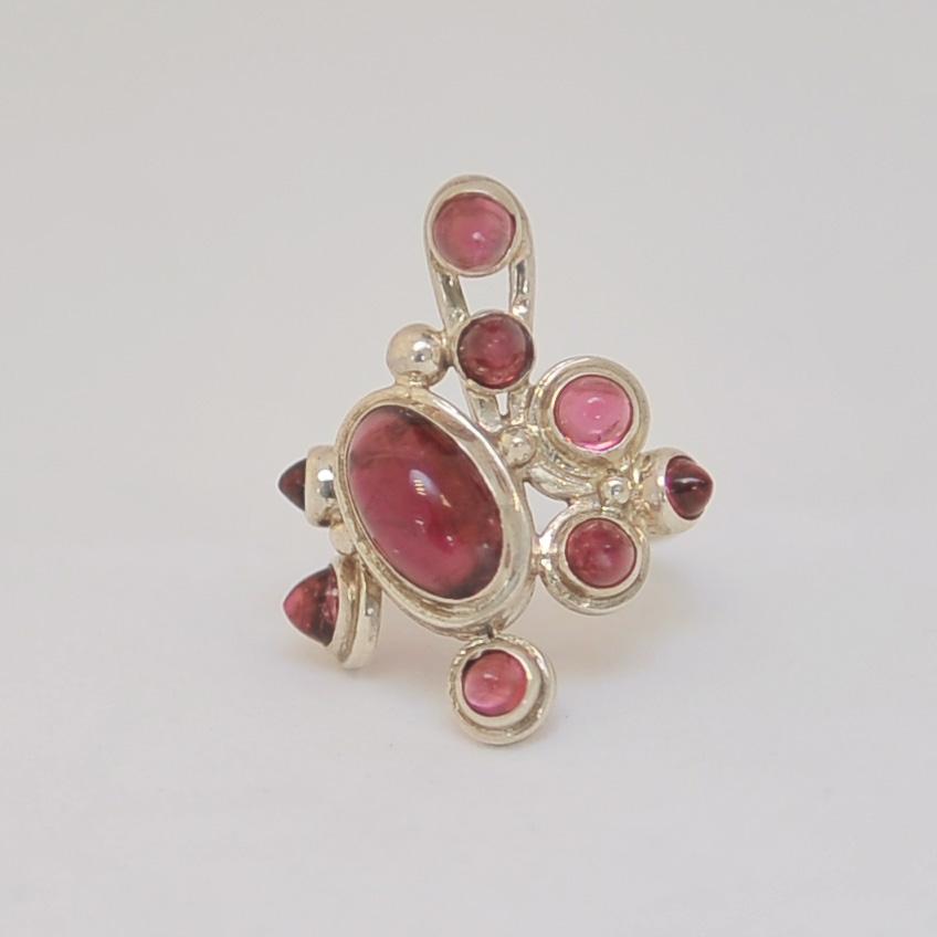 Кольцо из малинового и розового турмалина, уникальная авторская работа