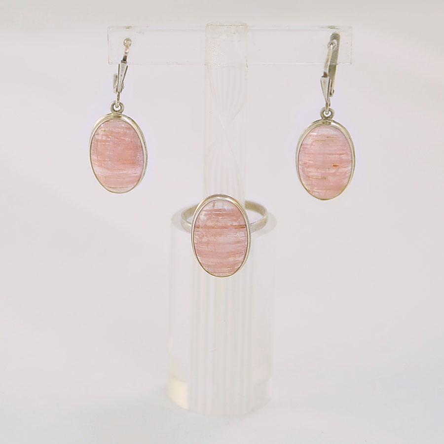 Комплект из розового турмалина овальной формы