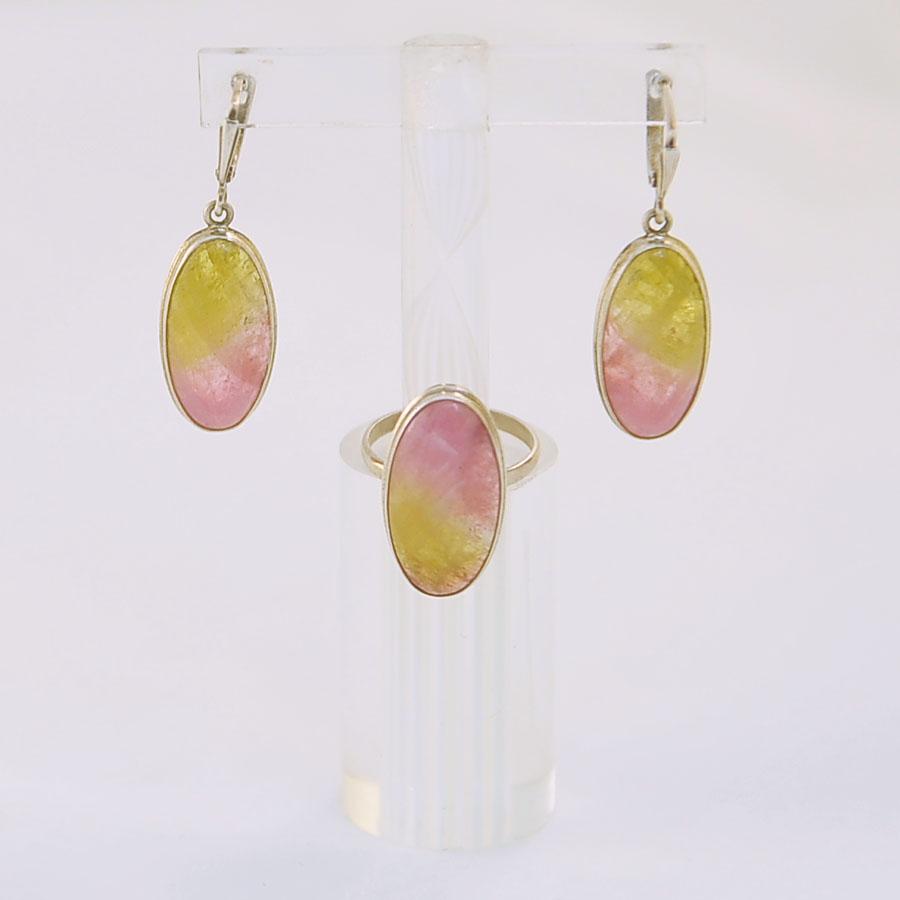Комплект из желто-розового турмалина овальной формы