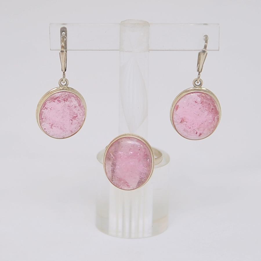 Комплект серьги + кольцо из ярко-розового турмалина овальной формы