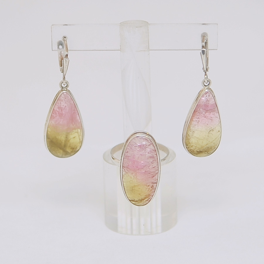 Комплект серьги + кольцо из розово-желтого турмалина в форме капли