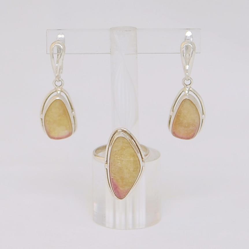 Комплект серьги + кольцо из желто- розового турмалина в форме капли