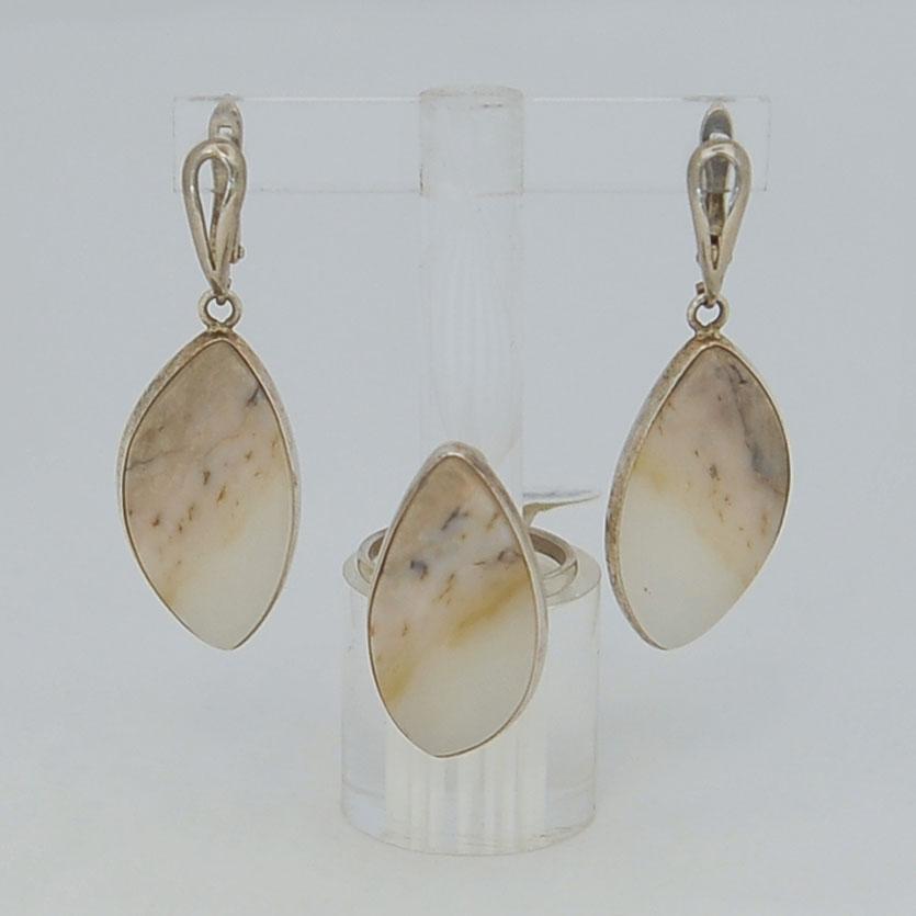 Комплект серьги + кольцо из бело-медового нефрита, капля, серебрение