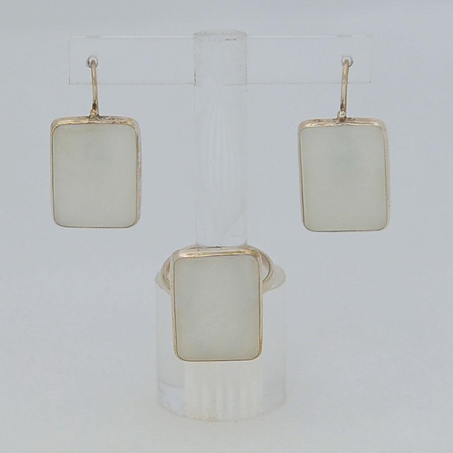 Комплект серьги + кольцо из белого нефрита, прямоугольник, серебрение