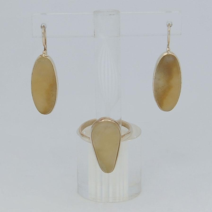 Комплект серьги + кольцо из медового нефрита, капля, серебрение